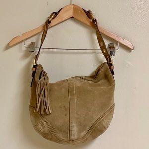 Coach Soho Medium Tan Suede Leather Hobo Bag